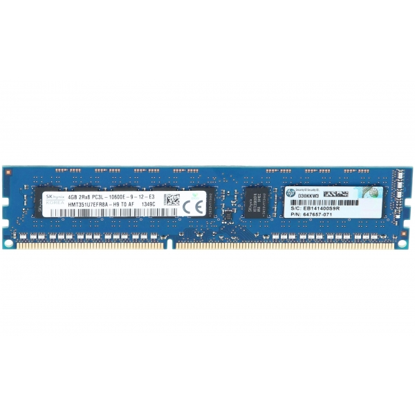 Memorie Server 4 GB 2Rx8 PC3L-10600E DDR3-1333 MHz Unbuffered  ECC - HP 647907-B21 - 1 - Server Memory - 214,20 lei