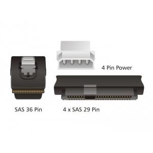 Cablu SAS 36-Pin (SFF 8087) la 4x SAS 29-Pin (SFF 8482) + 4 Molex 4 pin Power, 1 m - 2 - Cabluri si Adaptoare - 178,50lei