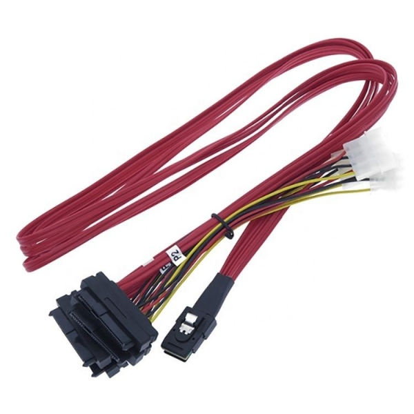 Cable Mini SAS 36-Pin (SFF 8087) to 4x SAS 29-Pin (SFF 8482) + 4 Molex 4 pin Power, 1m - 1 - Cables and Addapters - 178,50 lei